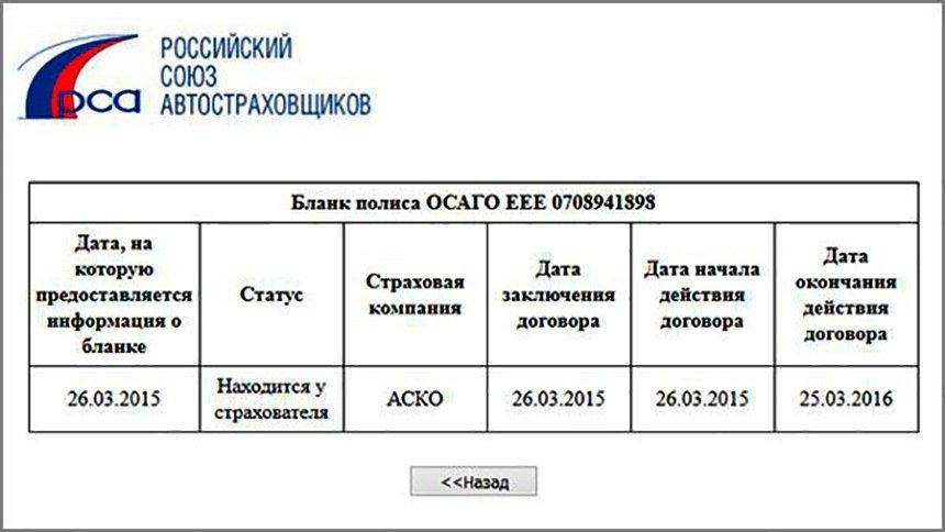 Полис ОСАГО по базе РСА